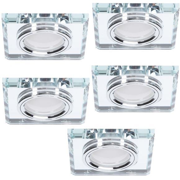 LED-Einbaustrahler 5er Set mit Glasrahmen, 3-fach dimmbar