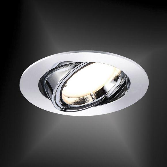 LED-Einbaustrahler in Chrom rund, schwenkbar