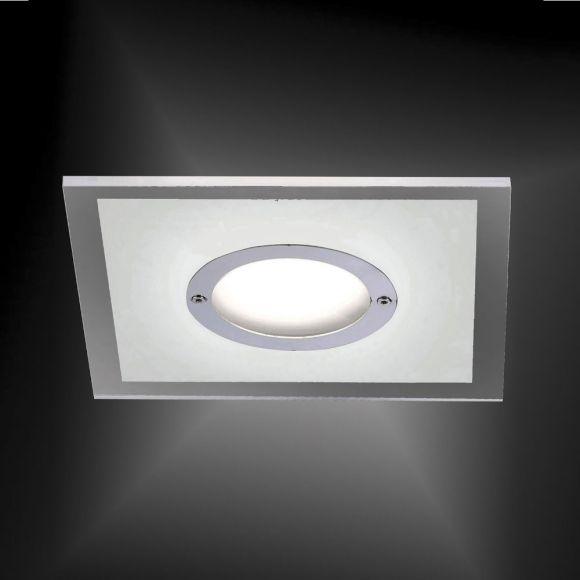 LED-Einbaustrahler in Chrom - 4-stufig dimmbar - 13 x 13 cm