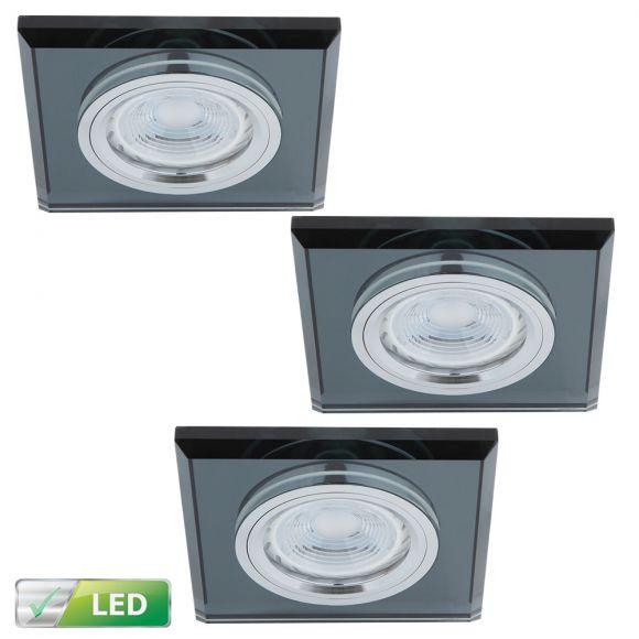 LED-Einbaustrahler Glasrahmen eckig schwarz, 3er Set GU10 5W