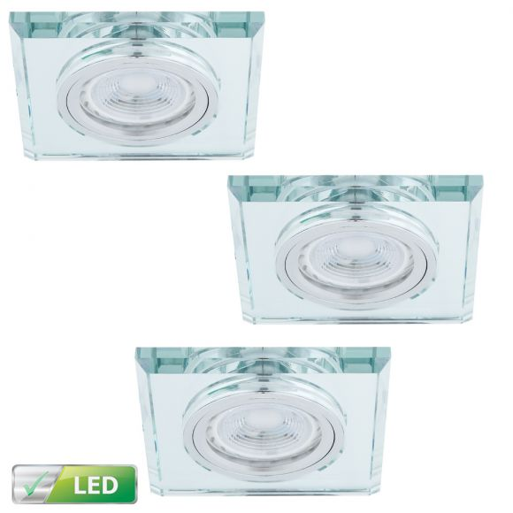 LED-Einbaustrahler Glasrahmen eckig, 3er Set LED GU10 5W