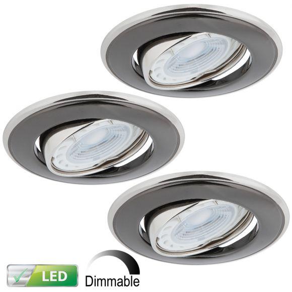 LED-Einbaustrahler Nickel Graphit  3er-Set, 3 x LED GU10 5 Watt