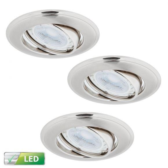 LHG LED-Einbaustrahler Nickel Satin 3er-Set Rund, 3 x GU10 5W