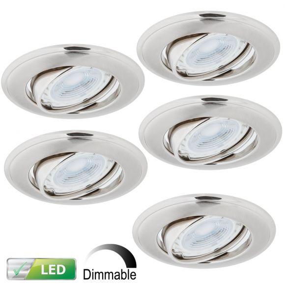 LED-Einbaustrahler Nickel Satin - 5er-Set