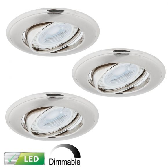LHG LED-Einbaustrahler Nickel Satin - Dimmbar - 3er-Set - Rund - Schwenkbar - Inklusive LED 3 x GU10 5,8 Watt