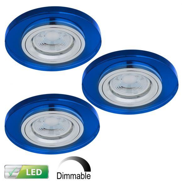 LHG LED-Einbaustrahler rund, Glas blau, dimmbar, 3er-Set LED GU10 5W
