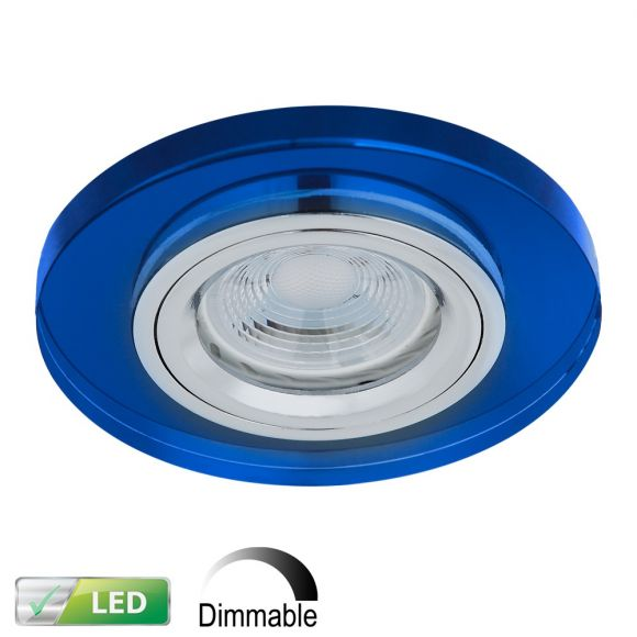 LED-Einbaustrahler rund, Glas blau, dimmbar, 1x GU10 5W