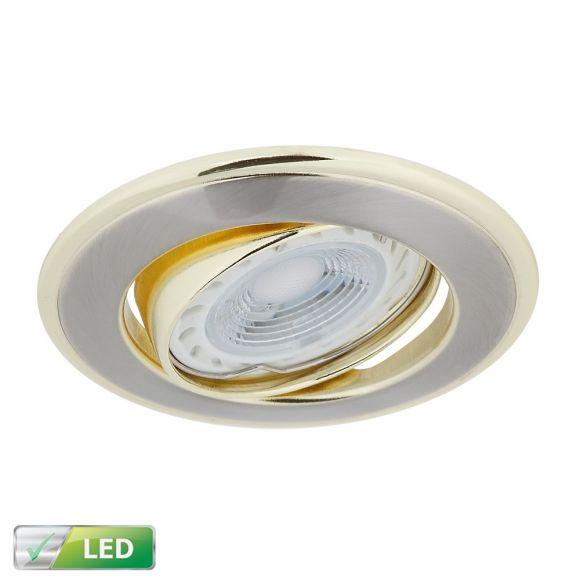 LHG LED-Einbaustrahler rund, goldene Elemente, LED 5 W GU10