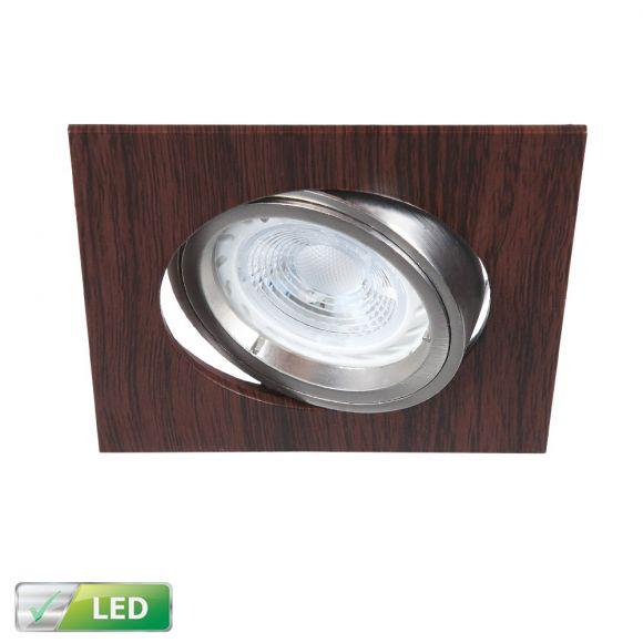LED-Einbaustrahler Wengeholz eckig - LED GU10 1 x 5W
