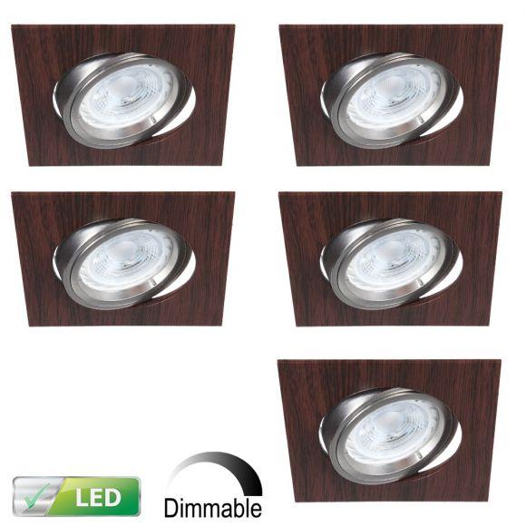 LHG LED-Einbaustrahler Wengeholz, eckig, 5er-Set LED 5W, dimmbar