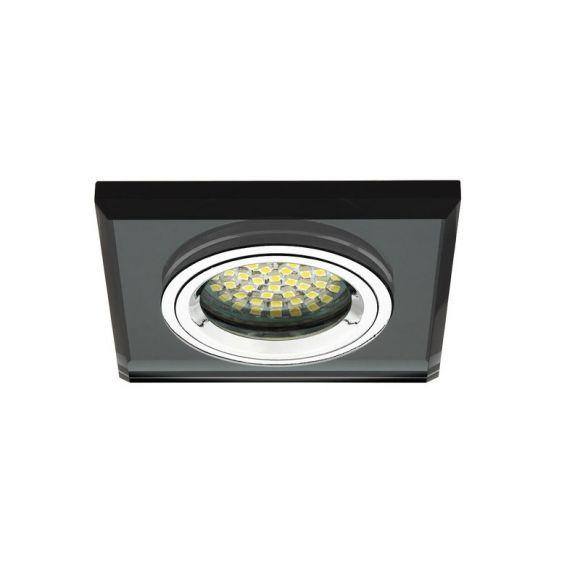 LED-Einbaustrahler, Glas, Eckig, Schwarz, Dimmbar per Wandschalter