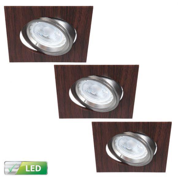 LHG LED-Einbaustrahler, Wengeholz, eckig, 3er Set, warmweiß, schwenkbar