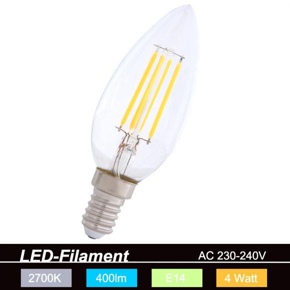 LED-Filament Leuchtmittel E14 Kerze 4W 2700K
