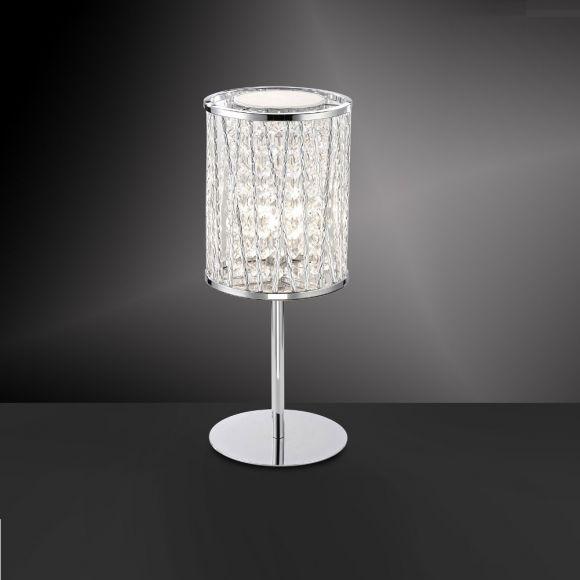 LED-Kristall-Tischleuchte glänzend in Chrom