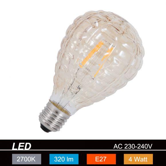 LED-Leuchtmittel E27 4W, braun-getönt, Ø 8cm Filament