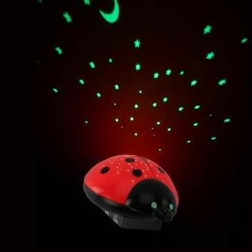 LED- Nachtlicht Sternenhimmel- Motiv Marienkäfer- kindersicherer Batteriebetrieb