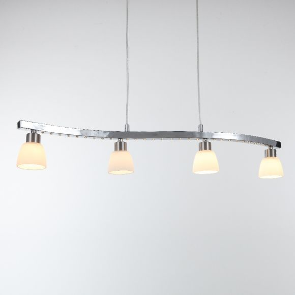 LED-Pendelleuchte 4-flammig - Nickel matt und Chrom