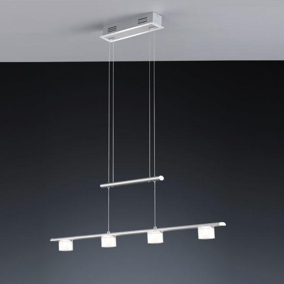 LED-Pendelleuchte Alu mit weißem Acrylglas, 4-flg.