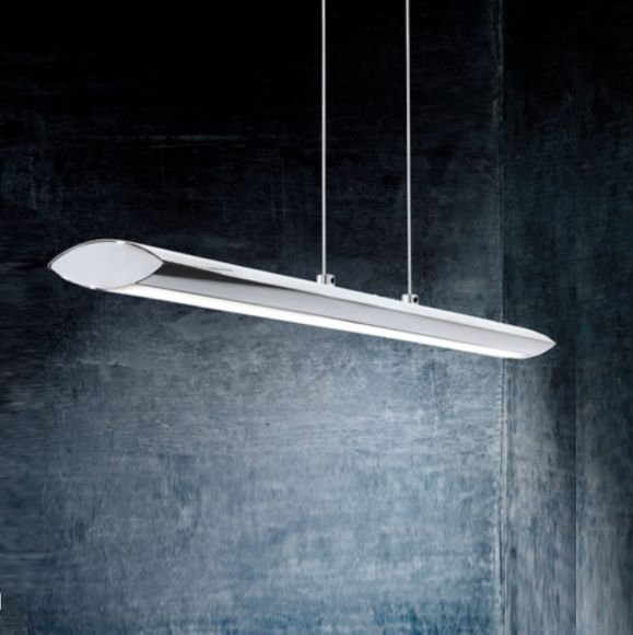 LED-Pendelleuchte in Chrom, Touchdimmer, Länge 110cm