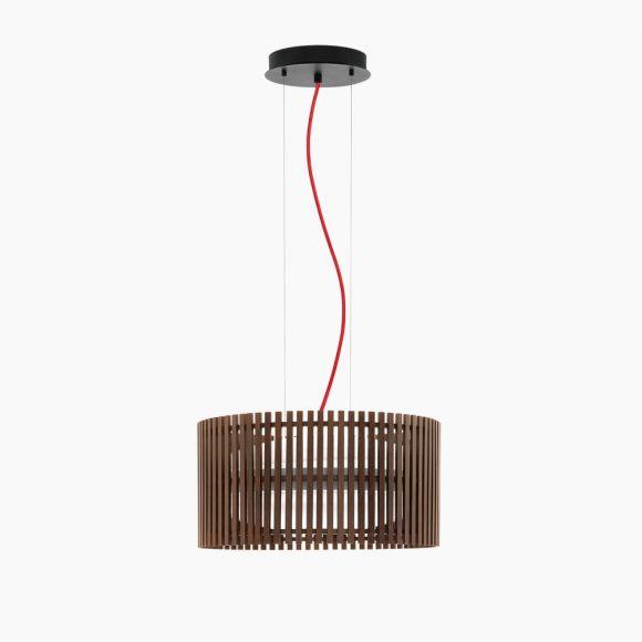LED-Pendelleuchte dunkles Naturholz, mit Kabel rot oder schwarz-weiß
