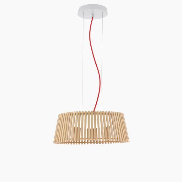LED Pendelleuchte aus hellem Naturholz