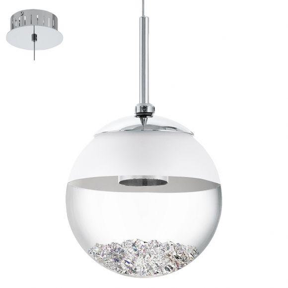 LED-Pendelleuchte mit klarer Glaskugel und Kristallen, 1-flammig