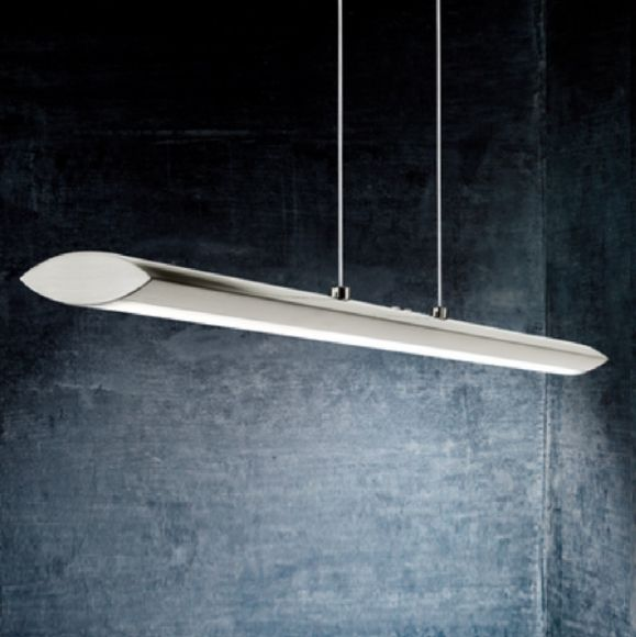 LED-Pendelleuchte in Nickel-matt, Touchdimmer, Länge 110cm