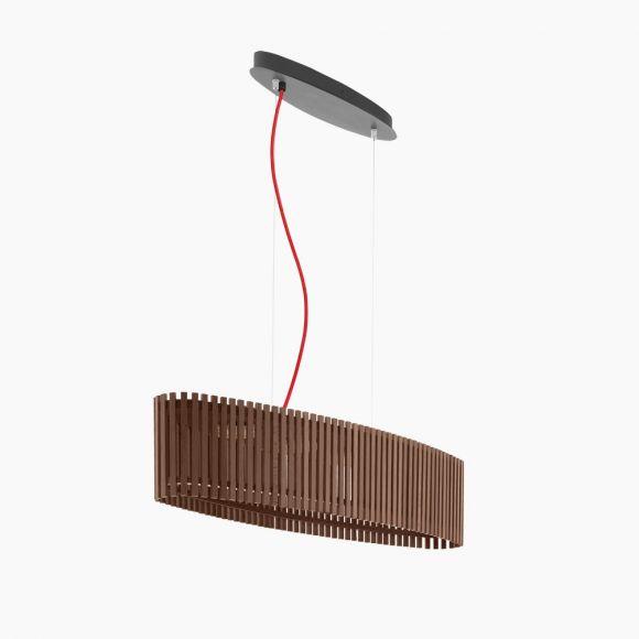 LED-Pendelleuchte oval, dunkles Naturholz, Kabel in 2 Farben
