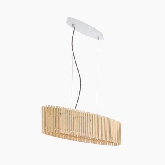 LED-Pendelleuchte oval, helles Naturholz, Kabel in 2 Farben