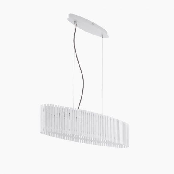 LED-Pendelleuchte oval, weißes Naturholz, Kabel in 2 Farben