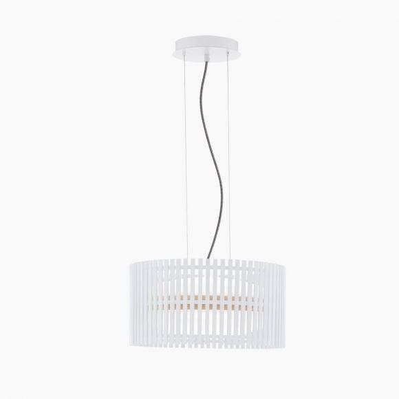 LED-Pendelleuchte weißes Naturholz, mit Kabel rot oder schwarz-weiß