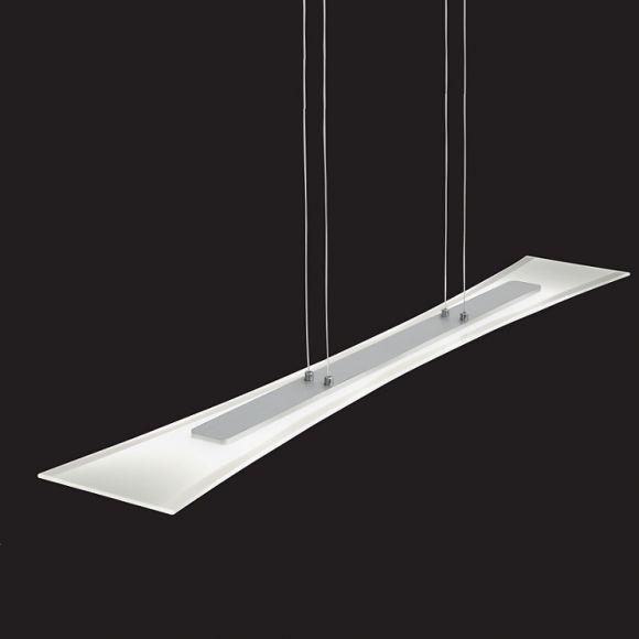 LED-Pendelleuchte, Aluminium gebürstet und teilsatiniertes Glas