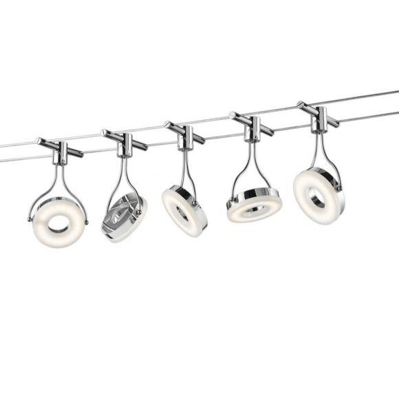 LED-Seilsystem in Chrom mit 5 Spots, max. Länge 5 m