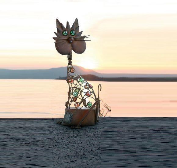 LED-SOLAR Figur Katze- inklusive  LED-Taschenlampe