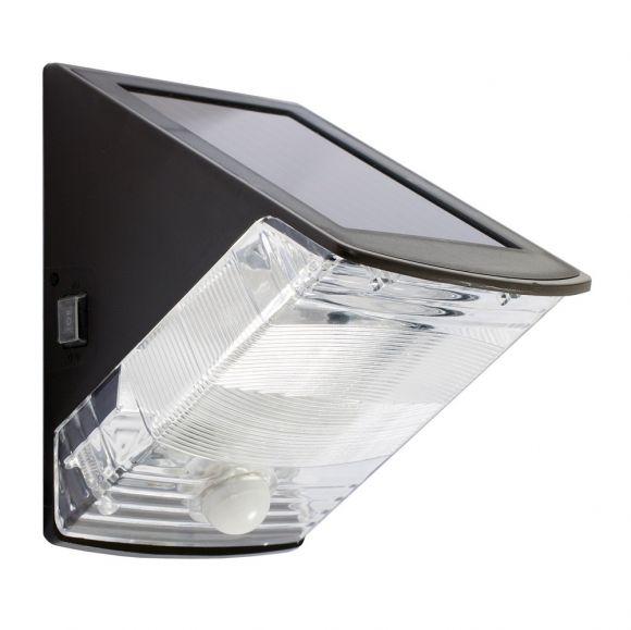 led solar wandleuchte mit sensor in schwarz wohnlicht. Black Bedroom Furniture Sets. Home Design Ideas