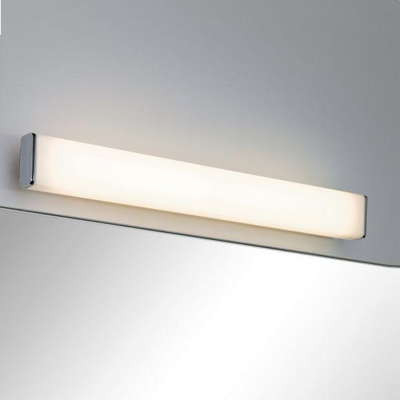 LED-Spiegelleuchte Chrom, Weiß, Metall, Acryl, IP44-Schutz, inklusive 9W LED, 3000 K warmweiß