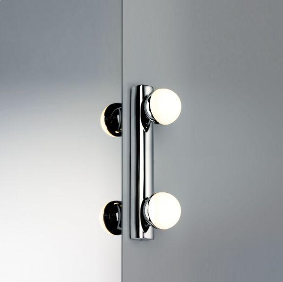 LED-Spiegelleuchte mit IP44-Schutz inklusive 2x3,5WWatt  LED, 2700 K warmweiß, Chrom, Weiß, Metall, Kunststoff