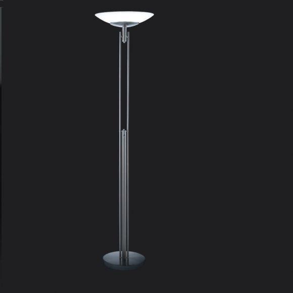 led standfluter mit touchdimmer in nickel matt led 30watt wohnlicht. Black Bedroom Furniture Sets. Home Design Ideas