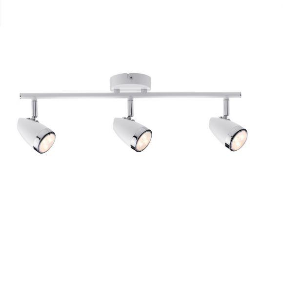 LED-Strahler - 3 flammig - Chrom, Weiß, Metall,  inklusive 3,5W LED 3x GU10, auswechselbar