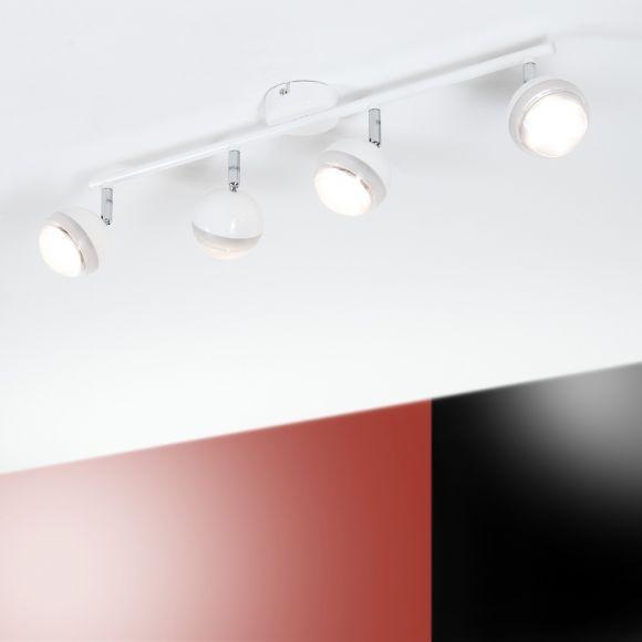 led strahlerserie deckenstrahler 4 flammig wei wei gl nzend wohnlicht. Black Bedroom Furniture Sets. Home Design Ideas