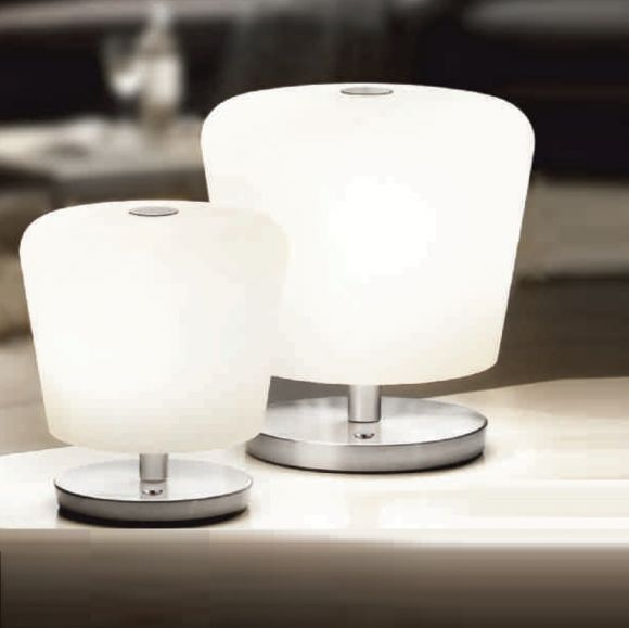 LED-Tischleuchte Glas weiß mit Touchdimmer, 2 Größen