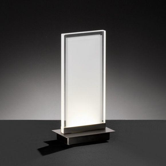 LED-Tischleuchte Objekt, eckig, Metall Nickel-matt, Acrylglas satiniert, warmweiß