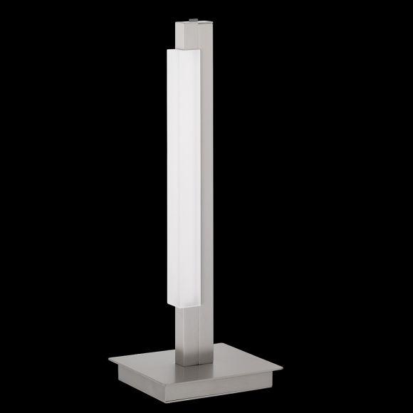 LED-Tischleuchte, Tastdimmer, modern, Nickel-matt, warmweiß