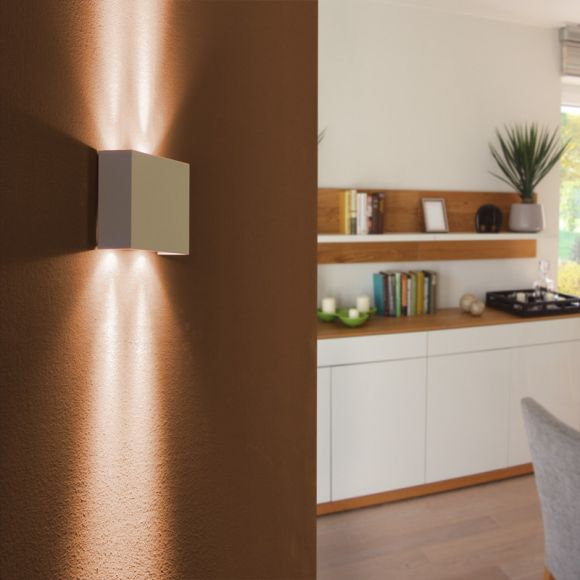LED-Wandleuchte aus Aluminium in Weiß, Up and Down, 4 flammig