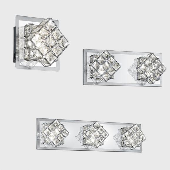 LED-Wandleuchte Chrom mit Schalter, Kristallglas klar, 3 Größen