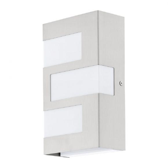 LED-Wandleuchte eckig in Edelstah / Kunststoff, 24x14cm