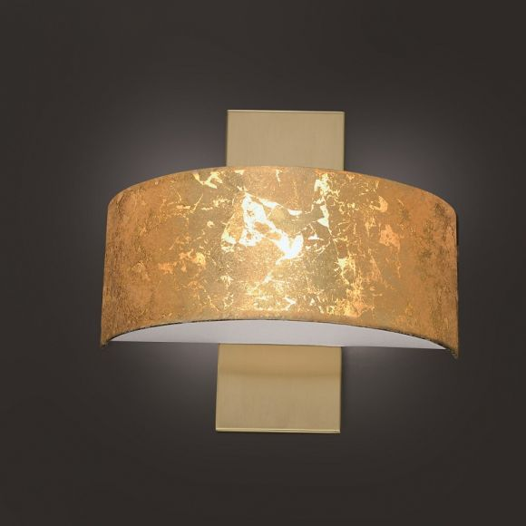 LED-Wandleuchte Gea, Schirm Blattgold, Messing, dimmbar