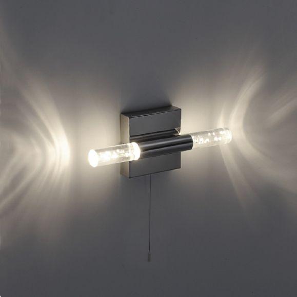 LED-Wandleuchte in glänzendem Chrom,IP44 , inklusive 2 x 5Watt - 760lm, Blasenglas Acryl klar mit Zugschalter