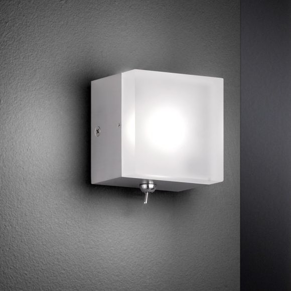 LED-Wandleuchte Metall Acyrlglas, Nickel-matt, Würfel, Kippschalter, warmweiß