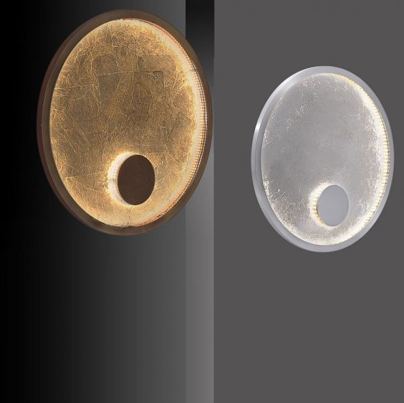 LED-Wandleuchte mit edler Oberfläche in Blattsilber- oder Blattgold